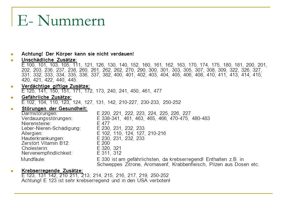 E- Nummern Achtung! Der Körper kann sie nicht verdauen! Unschädliche Zusätze: E 100, 101, 103, 105, 111, 121, 126, 130, 140, 152, 160, 161, 162, 163,
