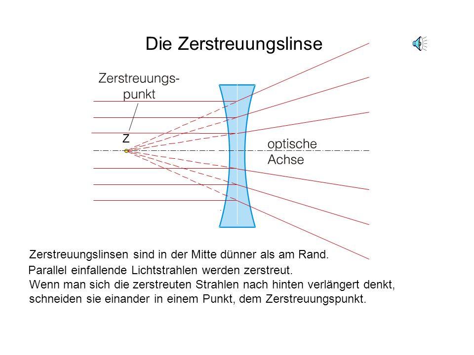 Die Sammellinse Sammellinsen sind in der Mitte dicker als am Rand. Sie brechen parallel zur optischen Achse einfallende Lichtstrahlen zu einem Punkt,