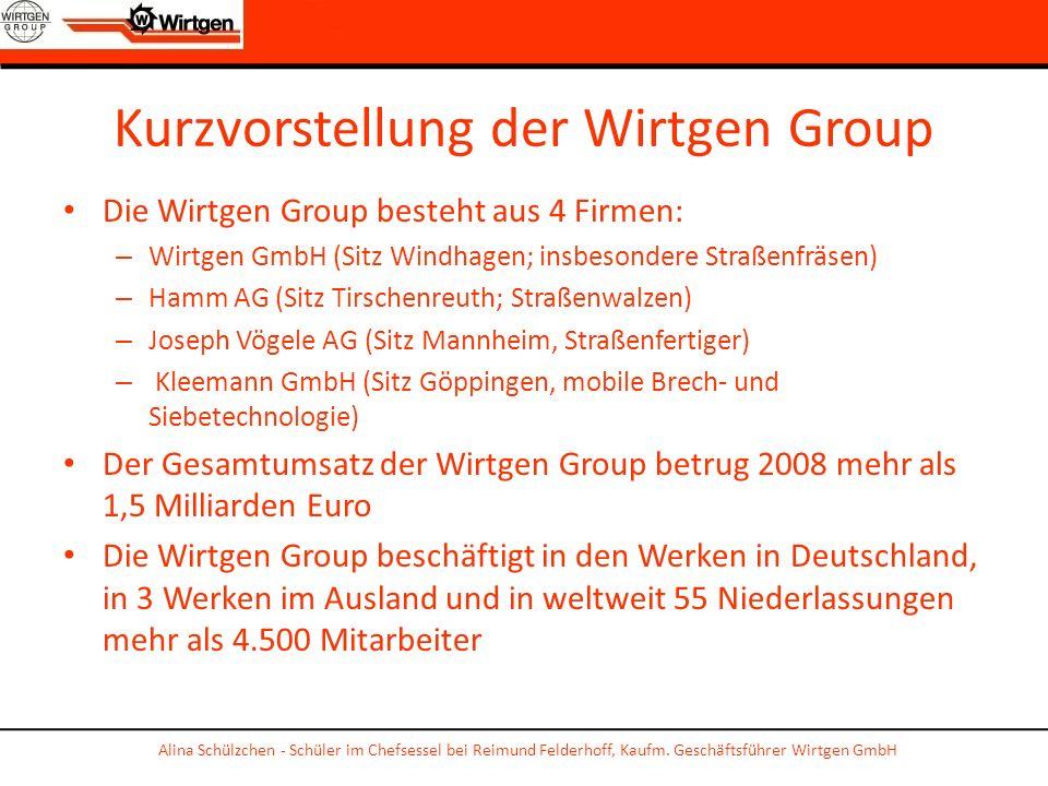 Kurzvorstellung der Wirtgen Group Die Wirtgen Group besteht aus 4 Firmen: – Wirtgen GmbH (Sitz Windhagen; insbesondere Straßenfräsen) – Hamm AG (Sitz