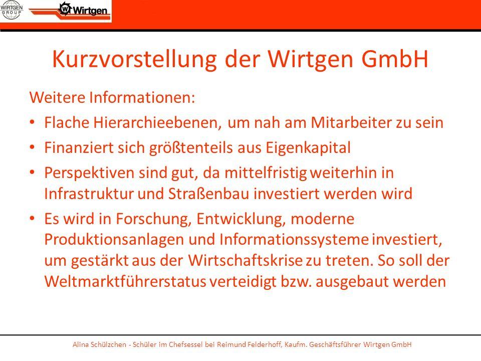 Kurzvorstellung der Wirtgen GmbH Weitere Informationen: Flache Hierarchieebenen, um nah am Mitarbeiter zu sein Finanziert sich größtenteils aus Eigenk