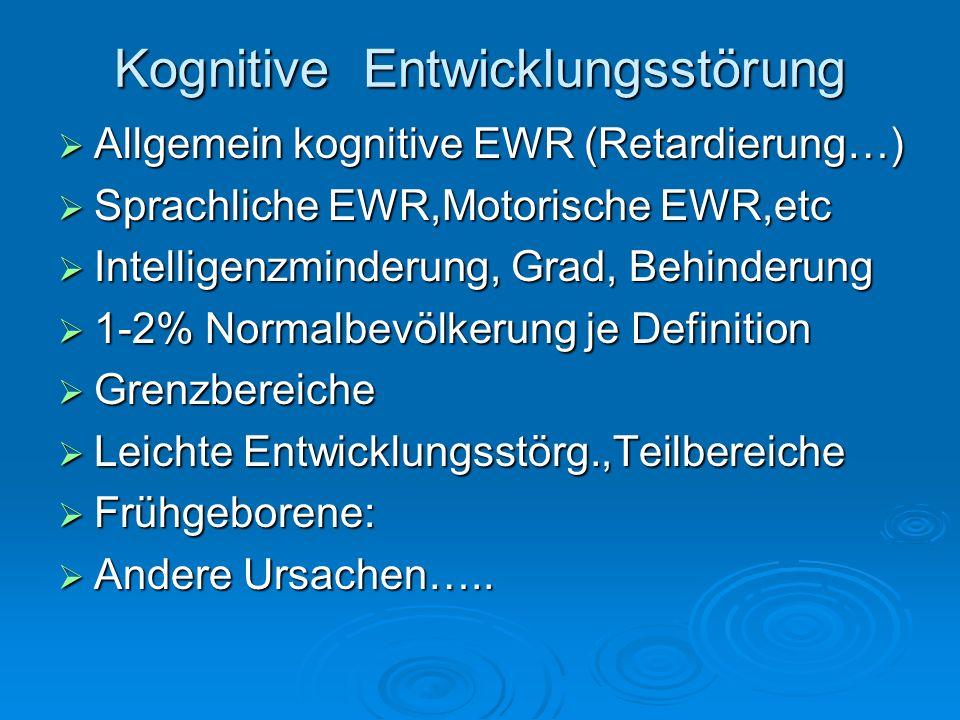 Kognitive Entwicklungsstörung Allgemein kognitive EWR (Retardierung…) Allgemein kognitive EWR (Retardierung…) Sprachliche EWR,Motorische EWR,etc Sprac