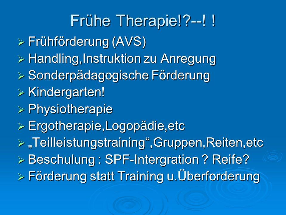 Frühe Therapie!?--! ! Frühförderung (AVS) Frühförderung (AVS) Handling,Instruktion zu Anregung Handling,Instruktion zu Anregung Sonderpädagogische För