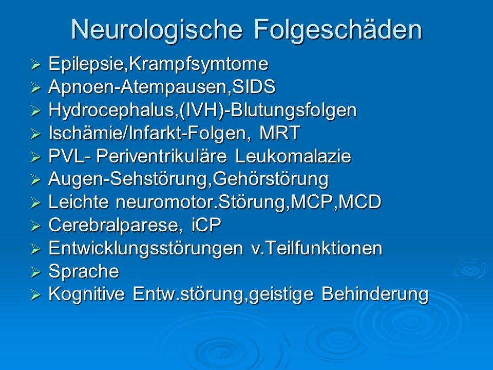 Neurologische Folgeschäden Epilepsie,Krampfsymtome Epilepsie,Krampfsymtome Apnoen-Atempausen,SIDS Apnoen-Atempausen,SIDS Hydrocephalus,(IVH)-Blutungsf