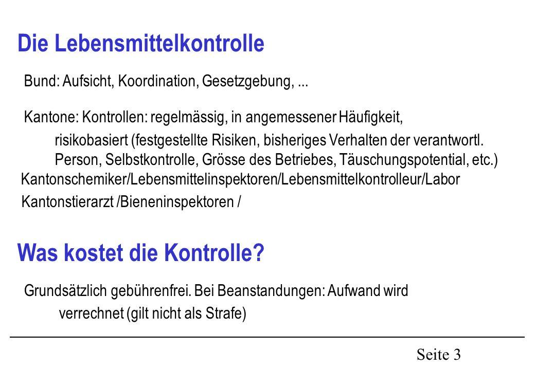 Seite 3 Die Lebensmittelkontrolle Bund: Aufsicht, Koordination, Gesetzgebung,...