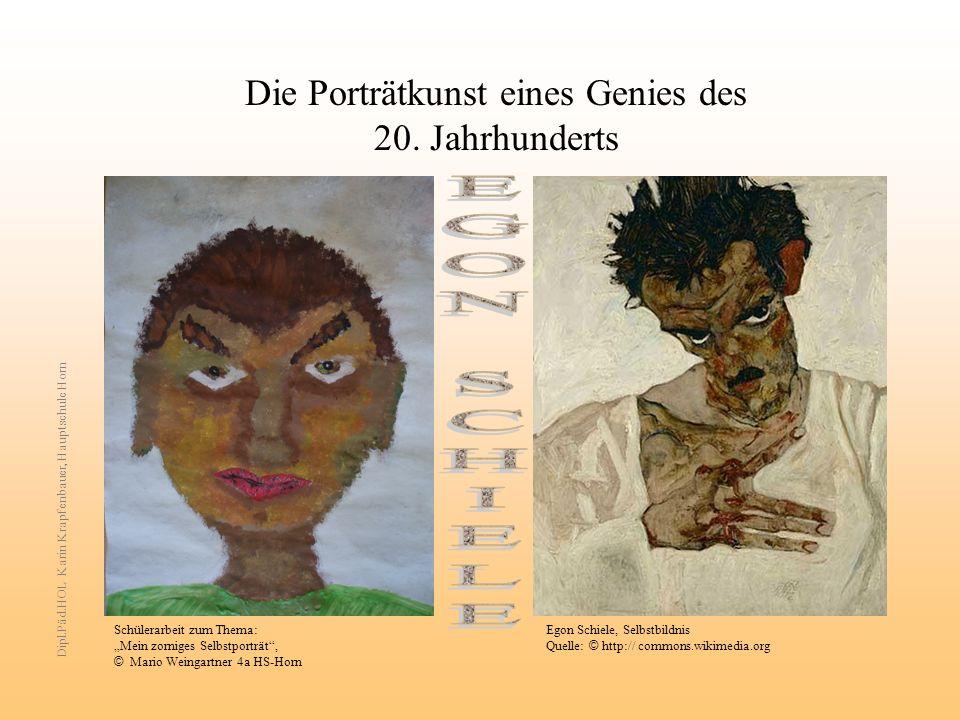 Die Porträtkunst eines Genies des 20. Jahrhunderts Schülerarbeit zum Thema: Mein zorniges Selbstporträt, © Mario Weingartner 4a HS-Horn Egon Schiele,