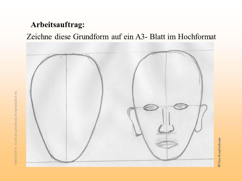 Arbeitsauftrag: Zeichne diese Grundform auf ein A3- Blatt im Hochformat Dipl.Päd.HOL Karin Krapfenbauer, Hauptschule Horn © Tina Krapfenbauer