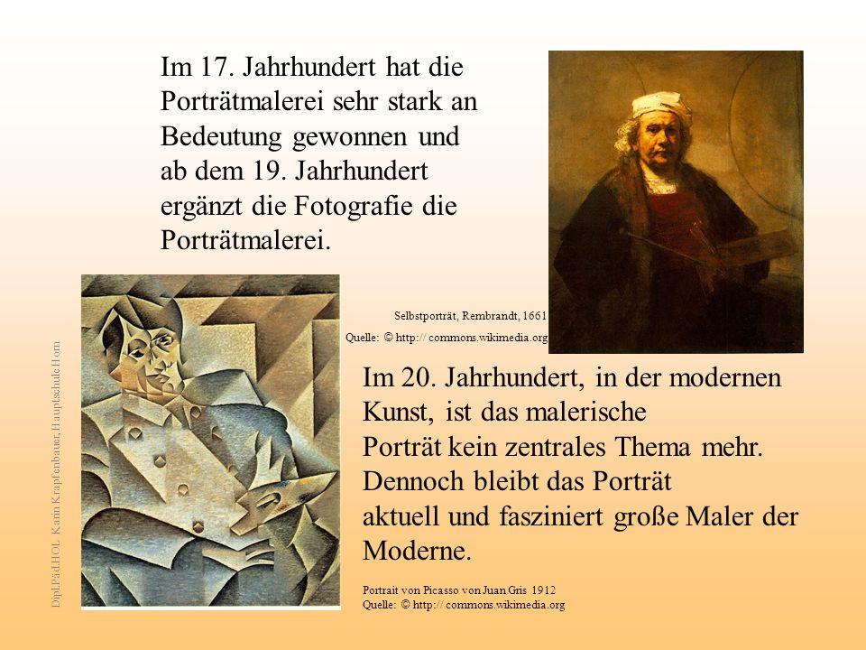 Im 17.Jahrhundert hat die Porträtmalerei sehr stark an Bedeutung gewonnen und ab dem 19.