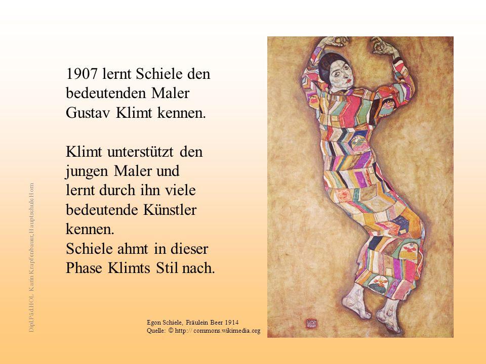 1907 lernt Schiele den bedeutenden Maler Gustav Klimt kennen.