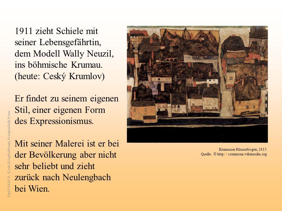 1911 zieht Schiele mit seiner Lebensgefährtin, dem Modell Wally Neuzil, ins böhmische Krumau.