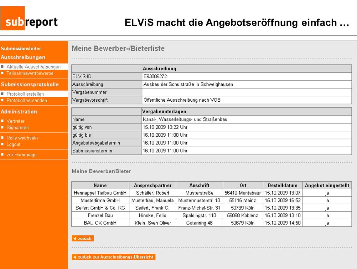ELViS macht die Angebotseröffnung einfach …