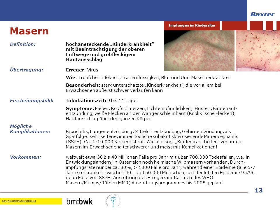13 Impfungen im Kindesalter Definition: hochansteckende Kinderkrankheit mit Beeinträchtigung der oberen Luftwege und grobfleckigem Hautausschlag Übert