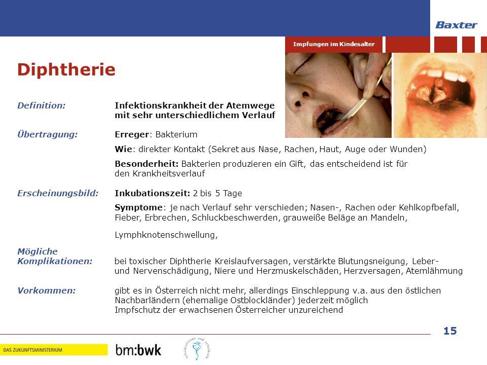 15 Impfungen im Kindesalter Diphtherie Definition: Infektionskrankheit der Atemwege mit sehr unterschiedlichem Verlauf Übertragung:Erreger: Bakterium