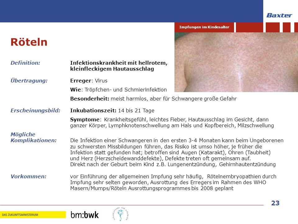 23 Impfungen im Kindesalter Definition: Infektionskrankheit mit hellrotem, kleinfleckigem Hautausschlag Übertragung:Erreger: Virus Wie: Tröpfchen- und