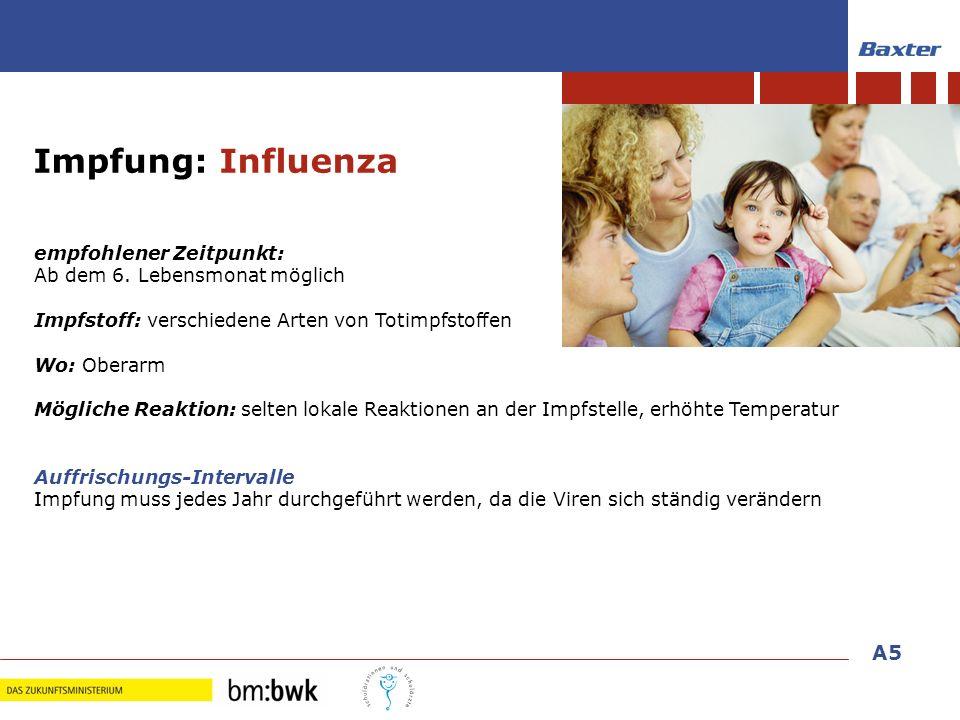 33 Impfungen im Kindesalter empfohlener Zeitpunkt: Ab dem 6. Lebensmonat möglich Impfstoff: verschiedene Arten von Totimpfstoffen Wo: Oberarm Mögliche