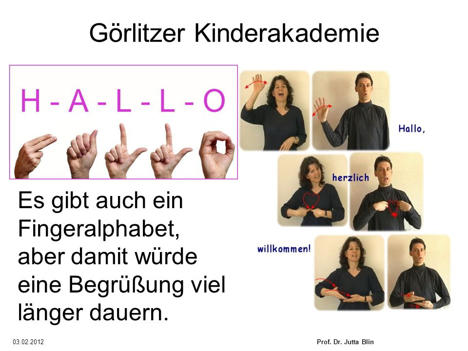 03.02.2012Prof. Dr. Jutta Blin Görlitzer Kinderakademie Es gibt auch ein Fingeralphabet, aber damit würde eine Begrüßung viel länger dauern.