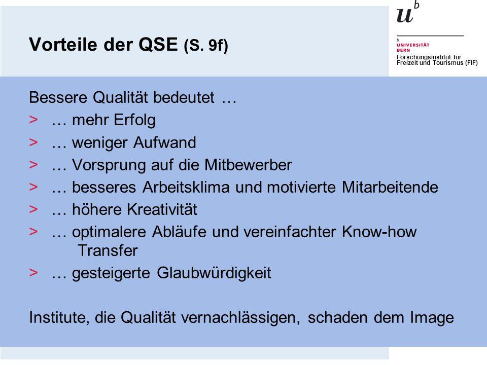 Forschungsinstitut für Freizeit und Tourismus (FIF) Vorteile der QSE (S. 9f) Bessere Qualität bedeutet … >… mehr Erfolg >… weniger Aufwand >… Vorsprun