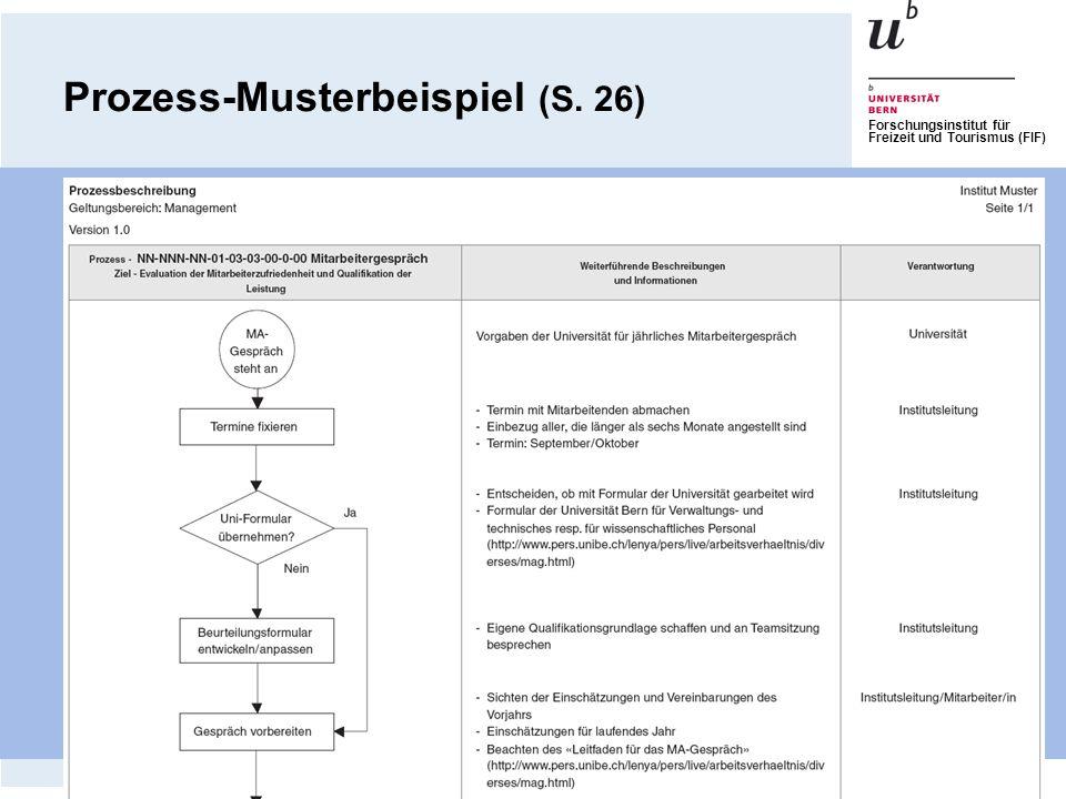 Forschungsinstitut für Freizeit und Tourismus (FIF) Prozess-Musterbeispiel (S. 26)
