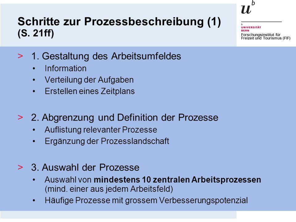 Forschungsinstitut für Freizeit und Tourismus (FIF) Schritte zur Prozessbeschreibung (1) (S. 21ff) >1. Gestaltung des Arbeitsumfeldes Information Vert