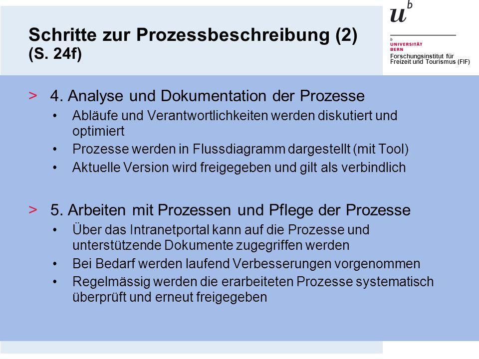 Forschungsinstitut für Freizeit und Tourismus (FIF) >4. Analyse und Dokumentation der Prozesse Abläufe und Verantwortlichkeiten werden diskutiert und