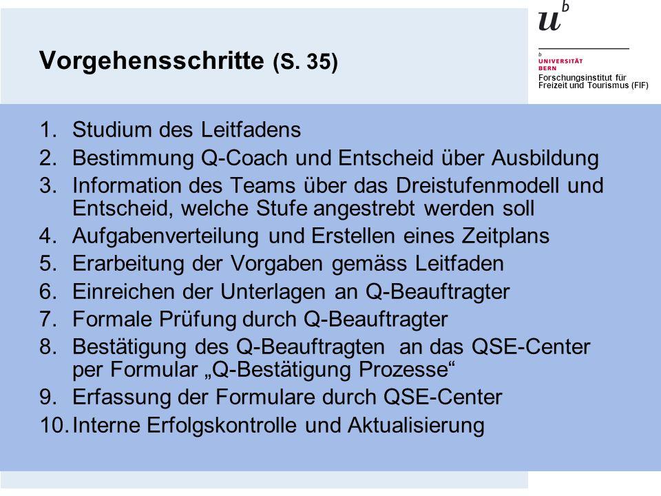 Forschungsinstitut für Freizeit und Tourismus (FIF) Vorgehensschritte (S. 35) 1.Studium des Leitfadens 2.Bestimmung Q-Coach und Entscheid über Ausbild