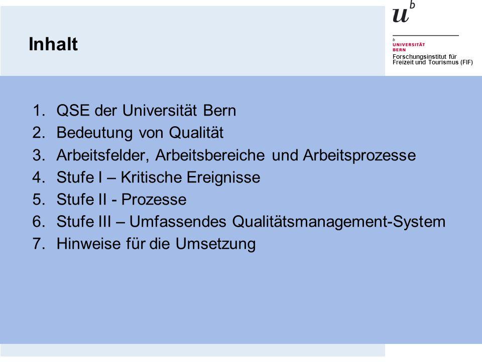Forschungsinstitut für Freizeit und Tourismus (FIF) 1.QSE der Universität Bern 2.Bedeutung von Qualität 3.Arbeitsfelder, Arbeitsbereiche und Arbeitspr