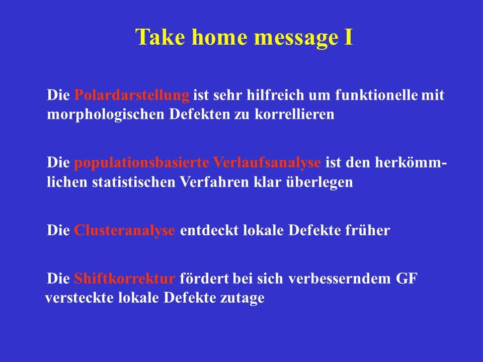 Take home message I Die Polardarstellung ist sehr hilfreich um funktionelle mit morphologischen Defekten zu korrellieren Die populationsbasierte Verla