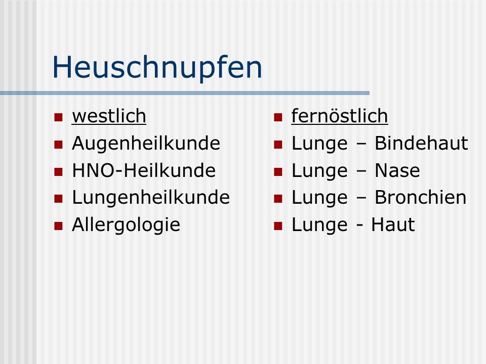 Heuschnupfen westlich Augenheilkunde HNO-Heilkunde Lungenheilkunde Allergologie fernöstlich Lunge – Bindehaut Lunge – Nase Lunge – Bronchien Lunge - H