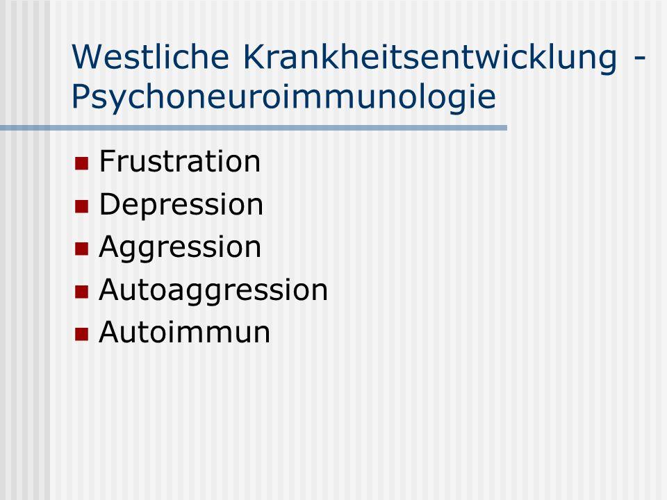 Westliche Krankheitsentwicklung - Psychoneuroimmunologie Frustration Depression Aggression Autoaggression Autoimmun