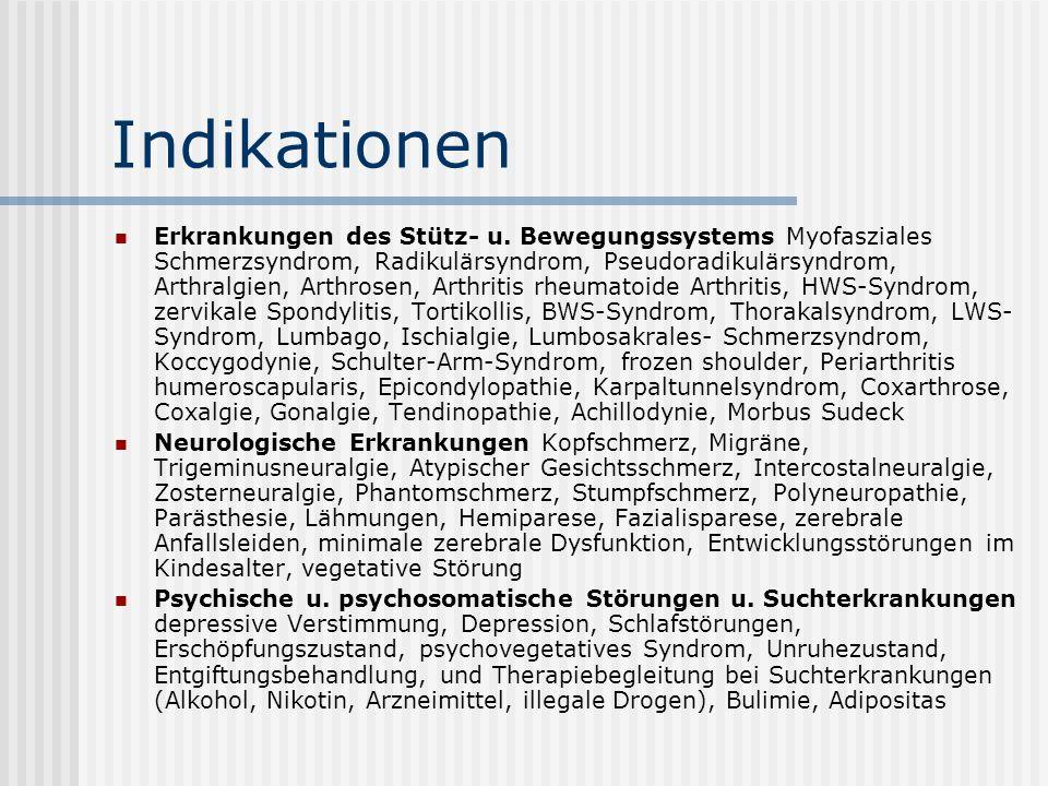 Indikationen Erkrankungen des Stütz- u. Bewegungssystems Myofasziales Schmerzsyndrom, Radikulärsyndrom, Pseudoradikulärsyndrom, Arthralgien, Arthrosen