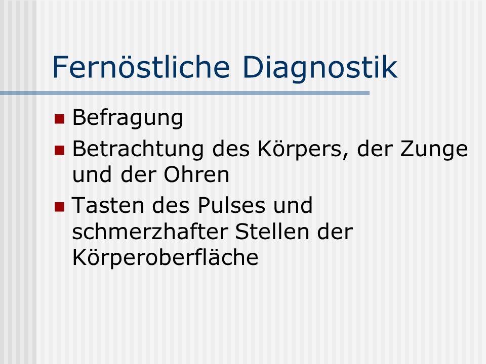 Fernöstliche Diagnostik Befragung Betrachtung des Körpers, der Zunge und der Ohren Tasten des Pulses und schmerzhafter Stellen der Körperoberfläche
