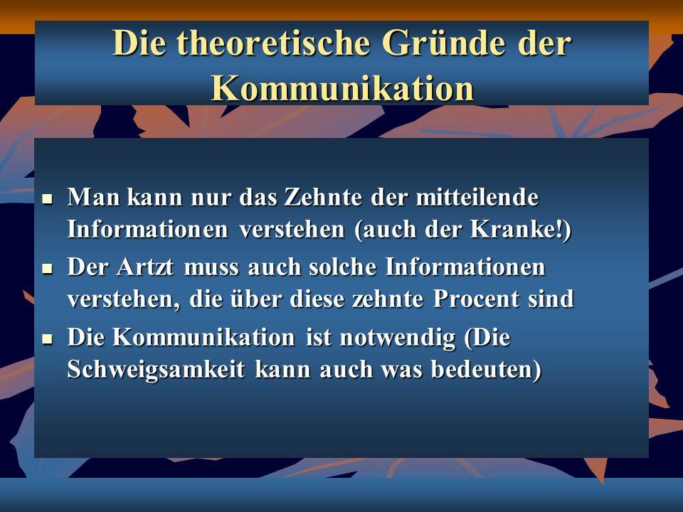 Die theoretische Gründe der Kommunikation Man kann nur das Zehnte der mitteilende Informationen verstehen (auch der Kranke!) Man kann nur das Zehnte d