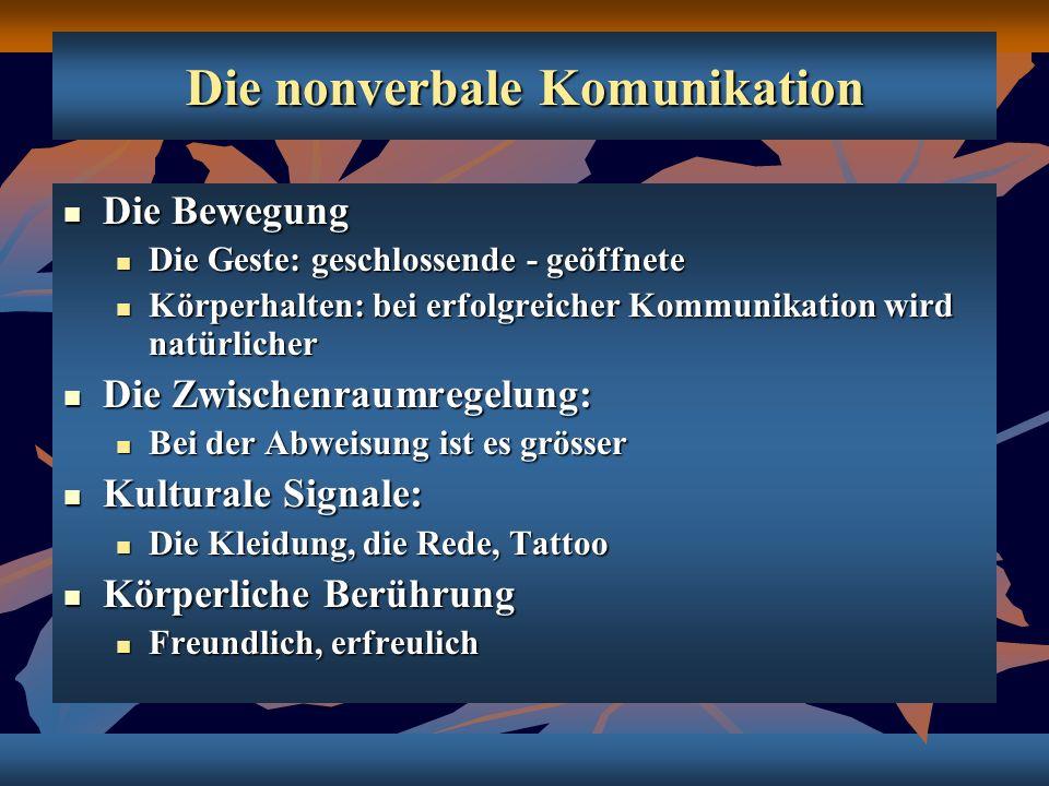 Die nonverbale Komunikation Die Bewegung Die Bewegung Die Geste: geschlossende - geöffnete Die Geste: geschlossende - geöffnete Körperhalten: bei erfo