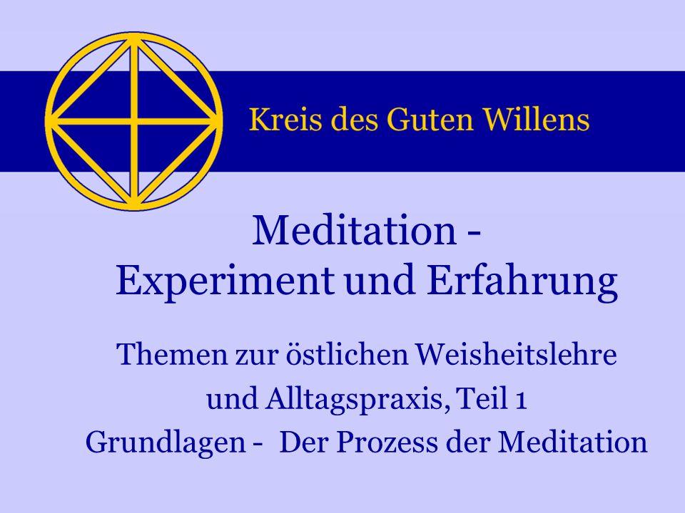 Themen zur östlichen Weisheitslehre und Alltagspraxis, Teil 1 Grundlagen - Der Prozess der Meditation Meditation - Experiment und Erfahrung
