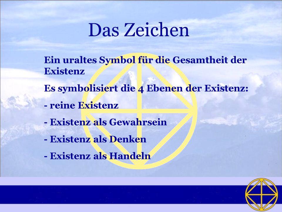 Das Zeichen Ein uraltes Symbol für die Gesamtheit der Existenz Es symbolisiert die 4 Ebenen der Existenz: - reine Existenz - Existenz als Gewahrsein -