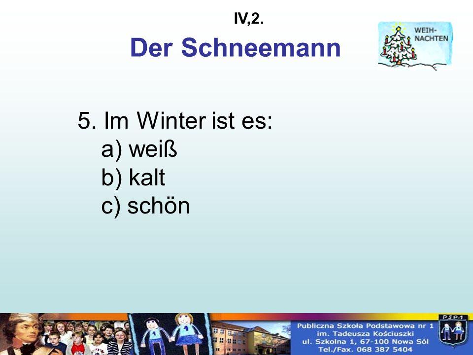 5. Im Winter ist es: a) weiß b) kalt c) schön Der Schneemann IV,2.