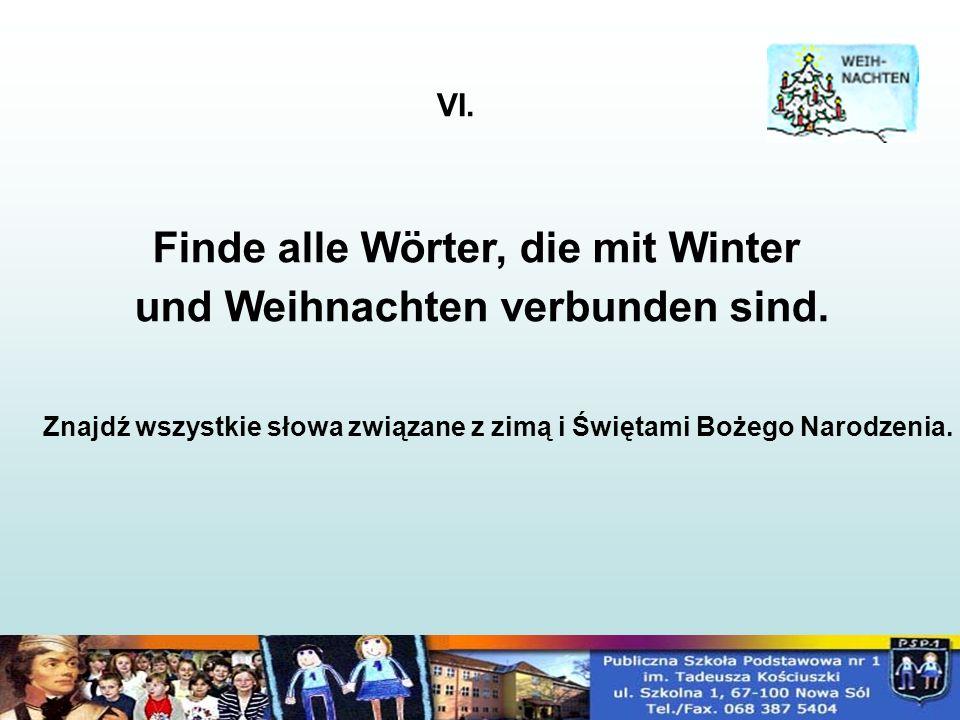 Finde alle Wörter, die mit Winter und Weihnachten verbunden sind.