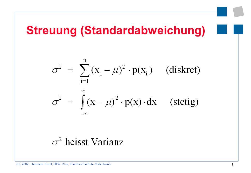 9 (C) 2002, Hermann Knoll, HTW Chur, Fachhochschule Ostschweiz Binomialverteilung (diskret) Beispiel: Wie gross ist die Wahrscheinlichkeit, mit zwei Würfel in 10 Versuchen 4-mal die Augen- summe 6 zu werfen.