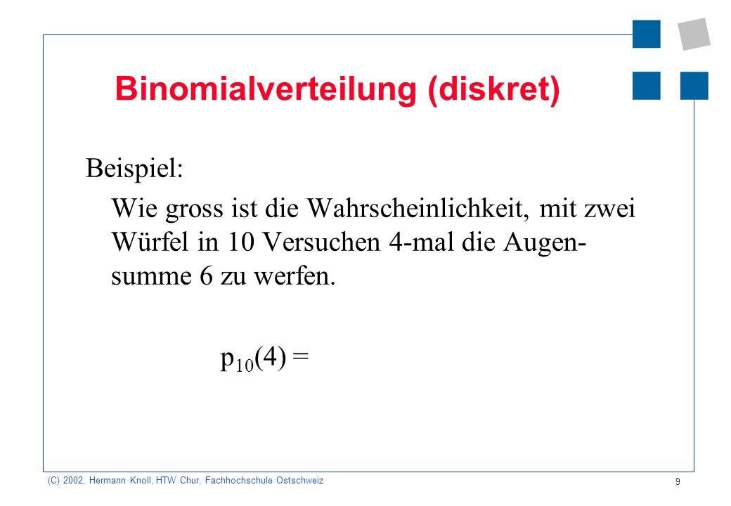 9 (C) 2002, Hermann Knoll, HTW Chur, Fachhochschule Ostschweiz Binomialverteilung (diskret) Beispiel: Wie gross ist die Wahrscheinlichkeit, mit zwei W