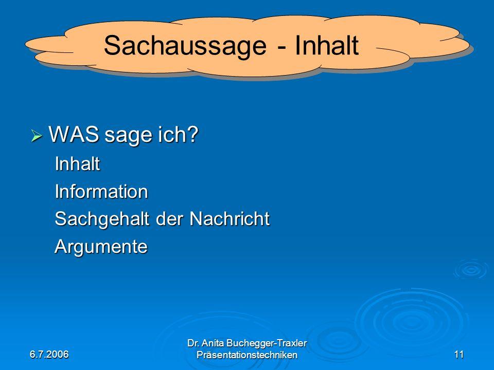 6.7.2006 Dr. Anita Buchegger-Traxler Präsentationstechniken11 WAS sage ich? WAS sage ich?InhaltInformation Sachgehalt der Nachricht Argumente Sachauss