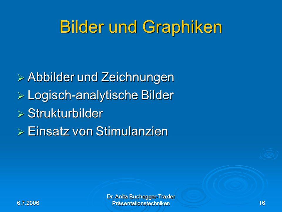 6.7.2006 Dr. Anita Buchegger-Traxler Präsentationstechniken16 Bilder und Graphiken Abbilder und Zeichnungen Abbilder und Zeichnungen Logisch-analytisc