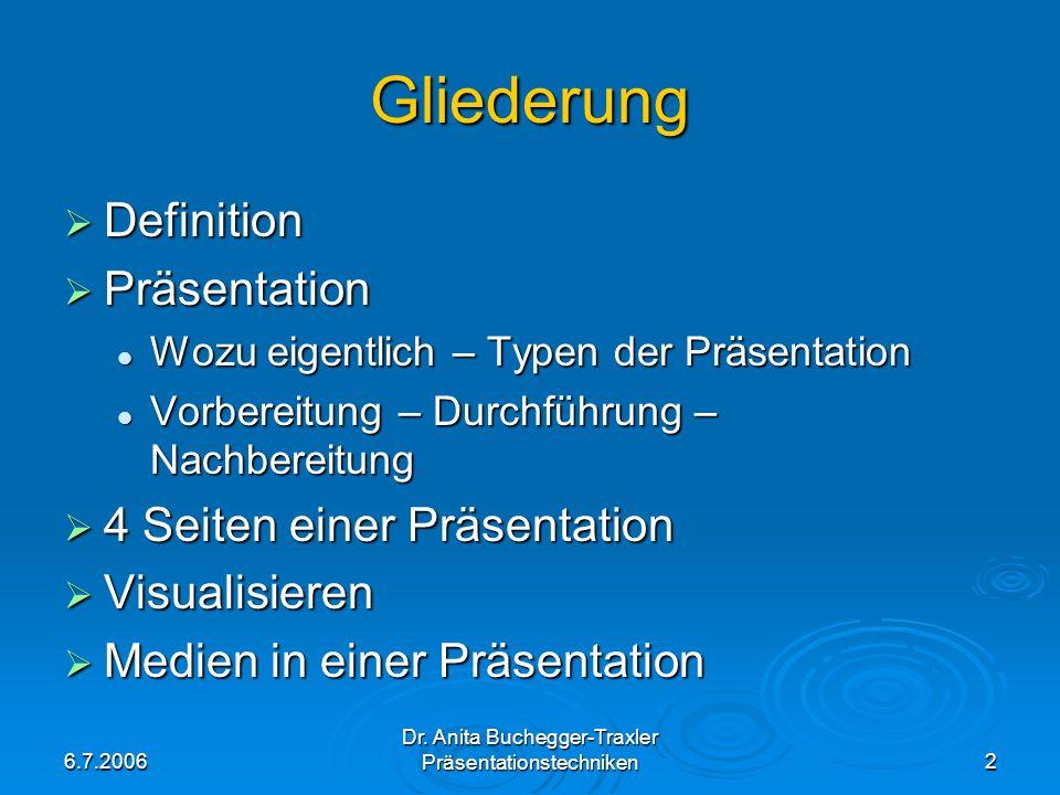 6.7.2006 Dr. Anita Buchegger-Traxler Präsentationstechniken2 Gliederung Definition Definition Präsentation Präsentation Wozu eigentlich – Typen der Pr