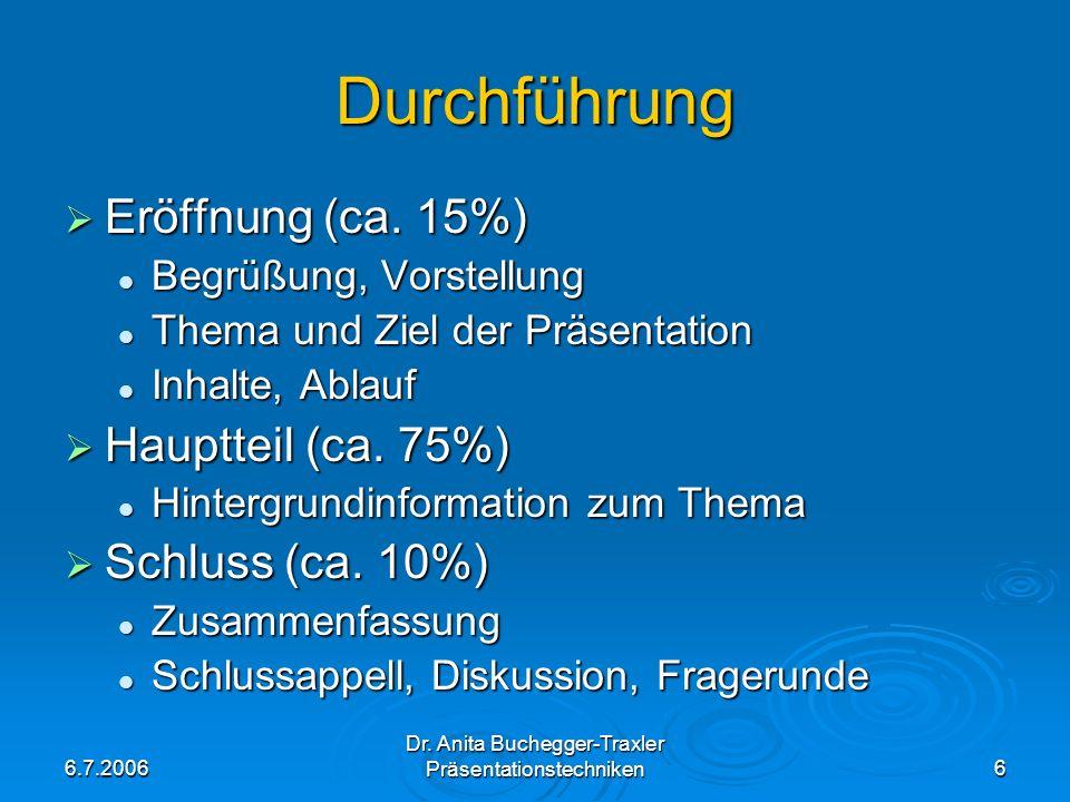 6.7.2006 Dr. Anita Buchegger-Traxler Präsentationstechniken6 Durchführung Eröffnung (ca. 15%) Eröffnung (ca. 15%) Begrüßung, Vorstellung Begrüßung, Vo