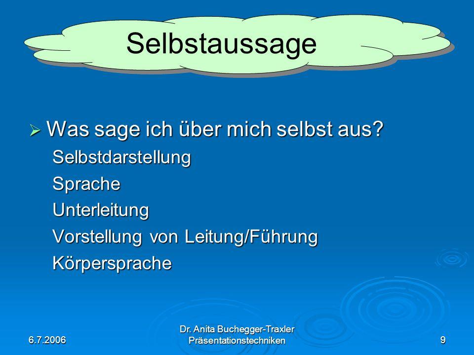 6.7.2006 Dr. Anita Buchegger-Traxler Präsentationstechniken9 Was sage ich über mich selbst aus? Was sage ich über mich selbst aus?SelbstdarstellungSpr