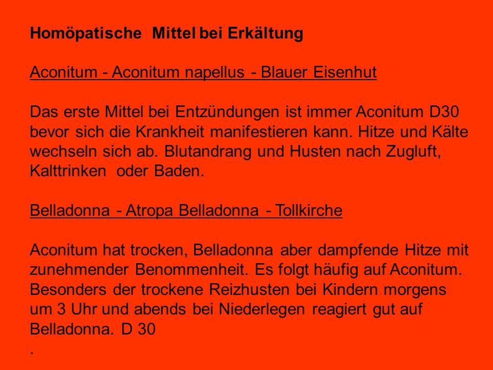 Homöpatische Mittel bei Erkältung Aconitum - Aconitum napellus - Blauer Eisenhut Das erste Mittel bei Entzündungen ist immer Aconitum D30 bevor sich die Krankheit manifestieren kann.