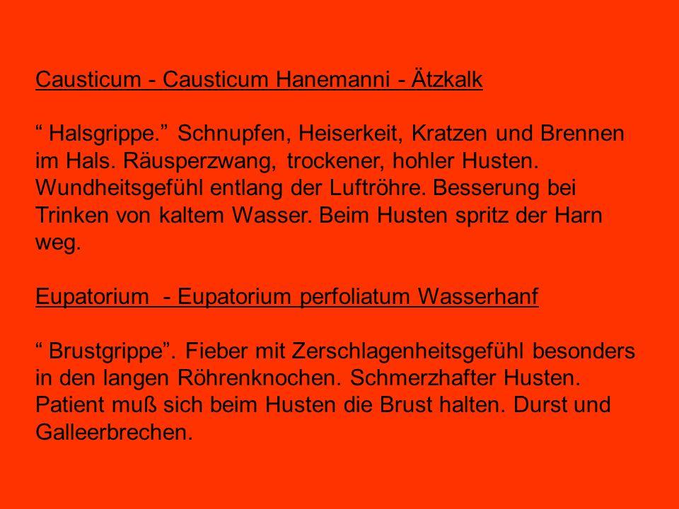 Causticum - Causticum Hanemanni - Ätzkalk Halsgrippe. Schnupfen, Heiserkeit, Kratzen und Brennen im Hals. Räusperzwang, trockener, hohler Husten. Wund