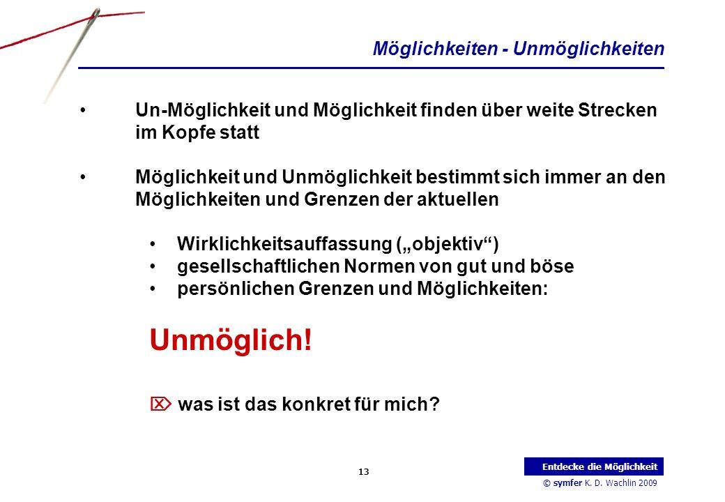 © symfer K. D. Wachlin 2009 13 Entdecke die Möglichkeit Möglichkeiten - Unmöglichkeiten Un-Möglichkeit und Möglichkeit finden über weite Strecken im K