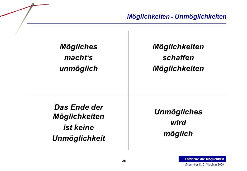 © symfer K. D. Wachlin 2009 26 Entdecke die Möglichkeit Möglichkeiten - Unmöglichkeiten Mögliches machts unmöglich Möglichkeiten schaffen Möglichkeite