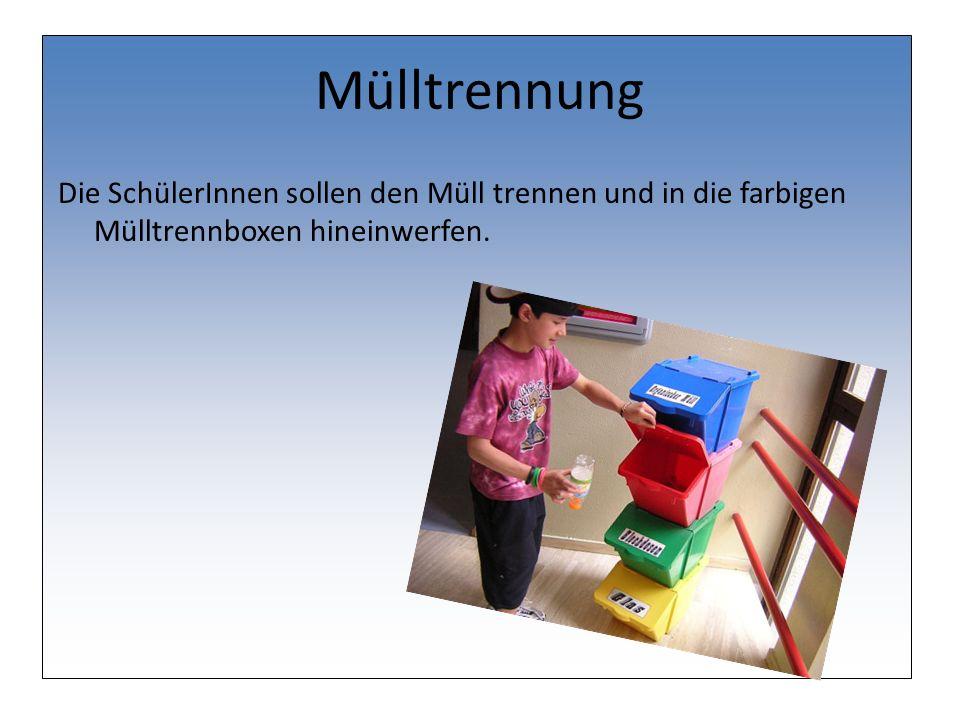 Mülltrennung Die SchülerInnen sollen den Müll trennen und in die farbigen Mülltrennboxen hineinwerfen.