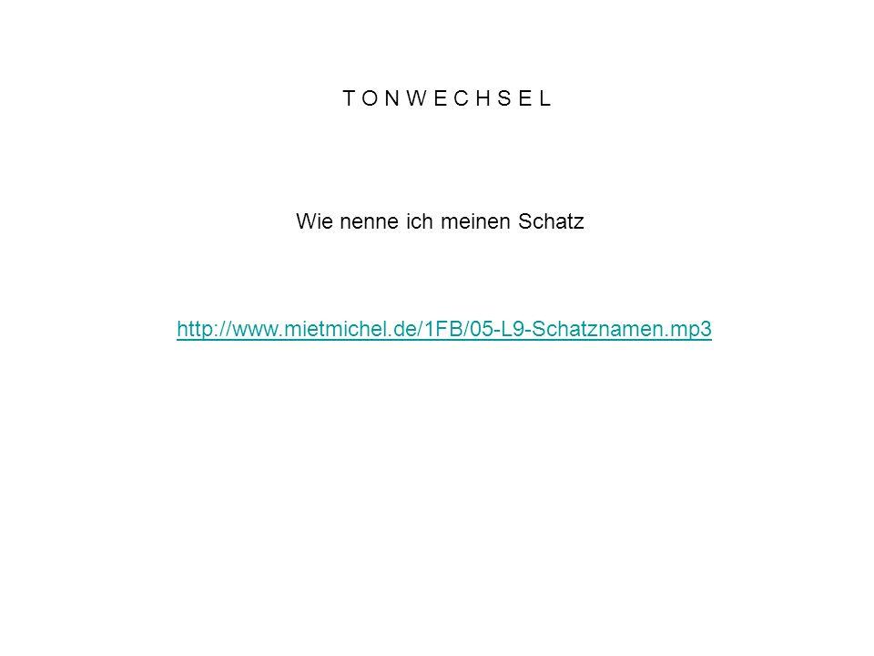 T O N W E C H S E L Wie nenne ich meinen Schatz http://www.mietmichel.de/1FB/05-L9-Schatznamen.mp3