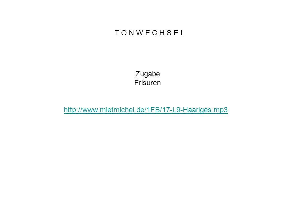 T O N W E C H S E L Zugabe Frisuren http://www.mietmichel.de/1FB/17-L9-Haariges.mp3